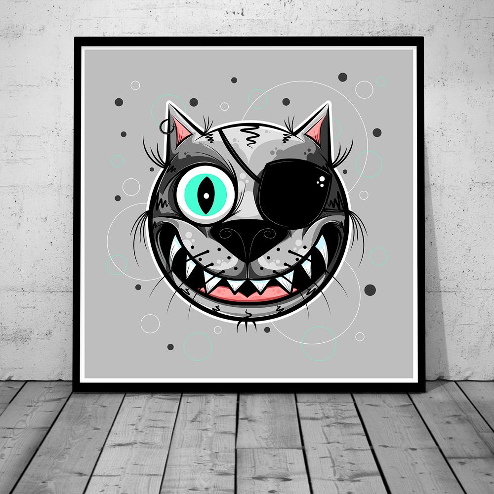 Miau. Poster print. mockup.