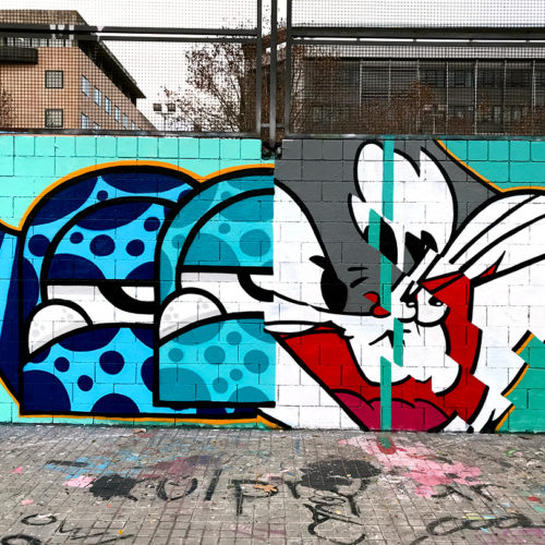 Monster and bugs bunny. Street art. Image.