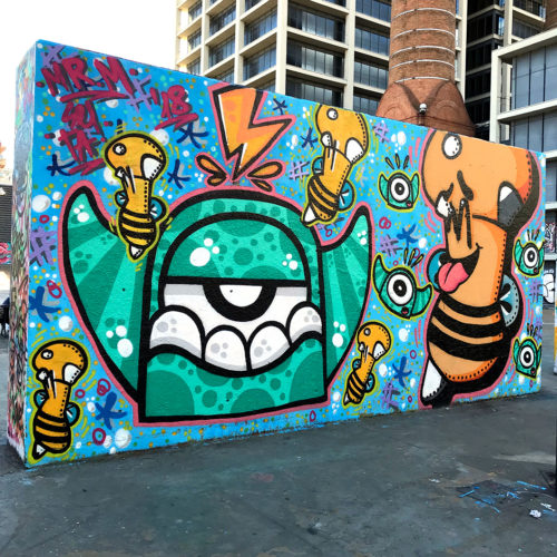 Monster and Seta collab. Street art. Image.