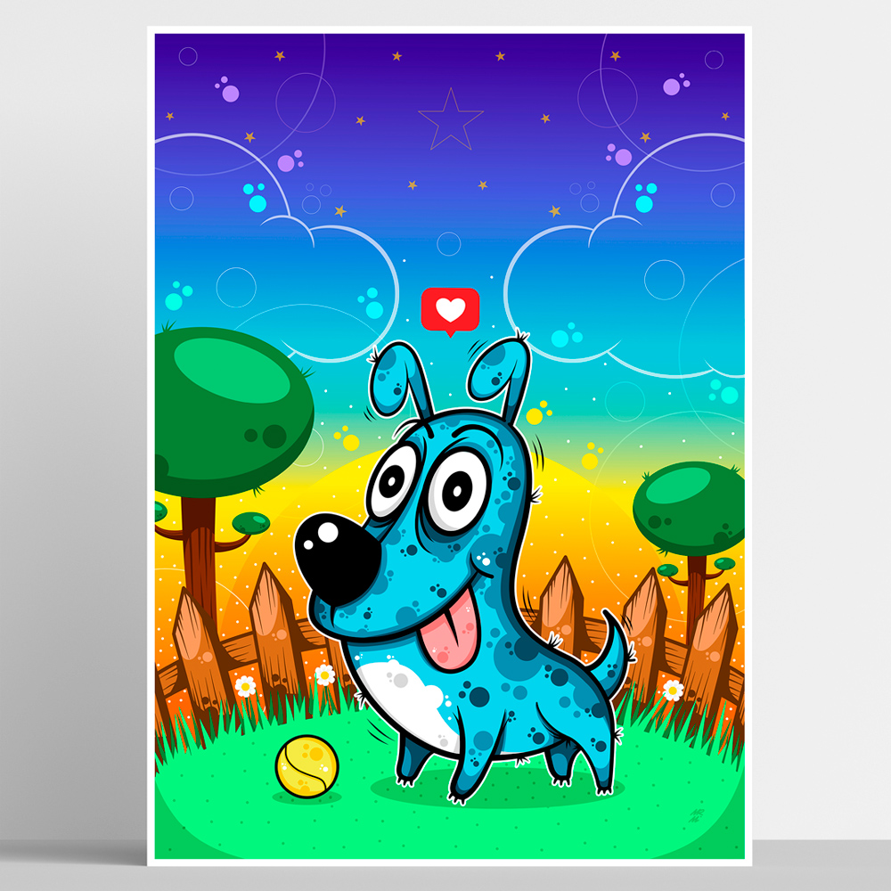 Playful_dog. Poster print. image.