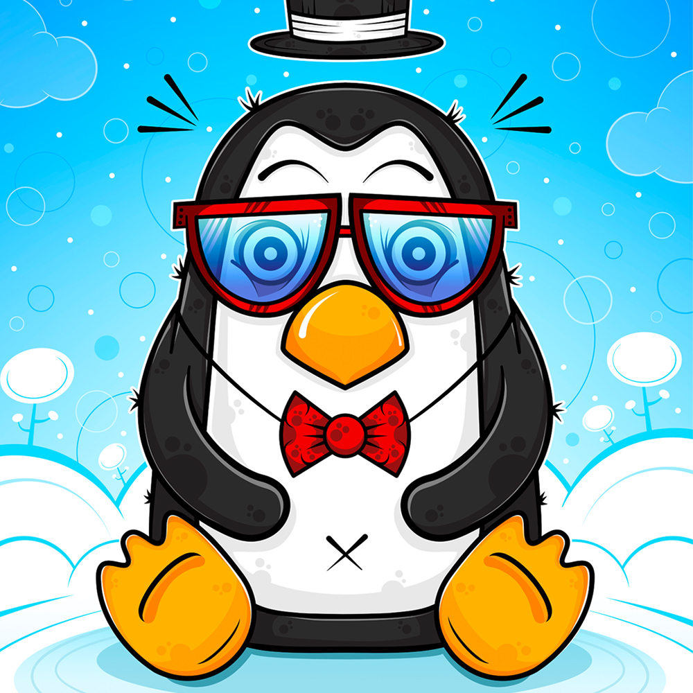 Mr.Penguin. Poster print. image.